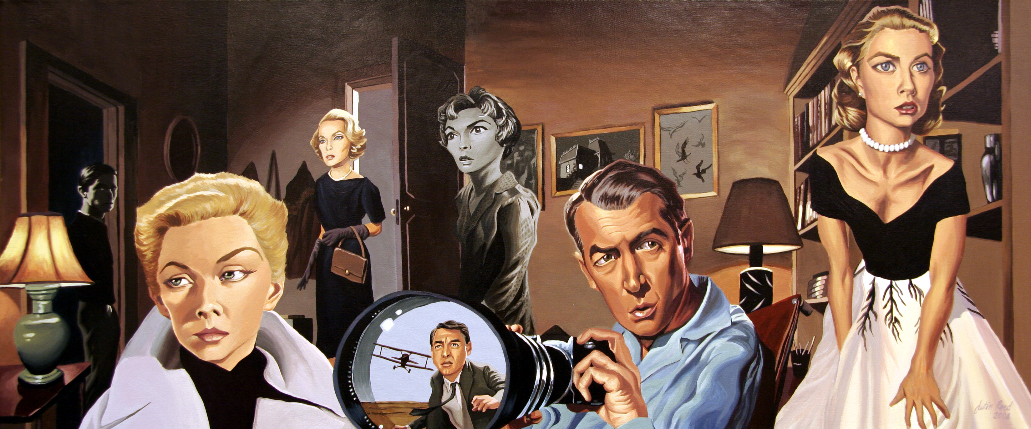 The Films of Alfred Hitchcock caricature by Justin Reed