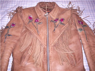 brown leather jacket with rose bud design by Heidi Helena