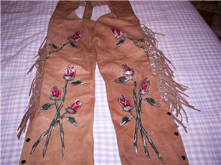 brown leather chaps with rose bud design by Heidi Helena