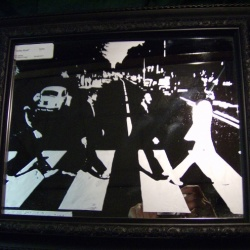 Etched glass mirror featuring Abbey Road album cover