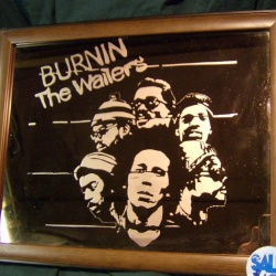 Copper mirror etched with Bob Marley and the Wailers Burnin&