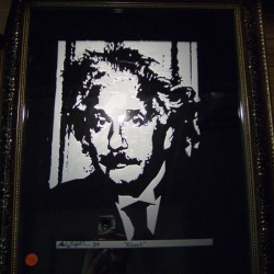 Albert Einstein image etched onto beveled glass mirror