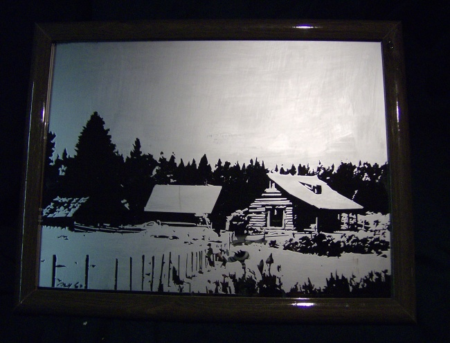Abbot Valley cabin scene, etched glass mirror