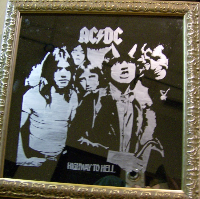 AC/DC Highway to Hell acid etched mirror