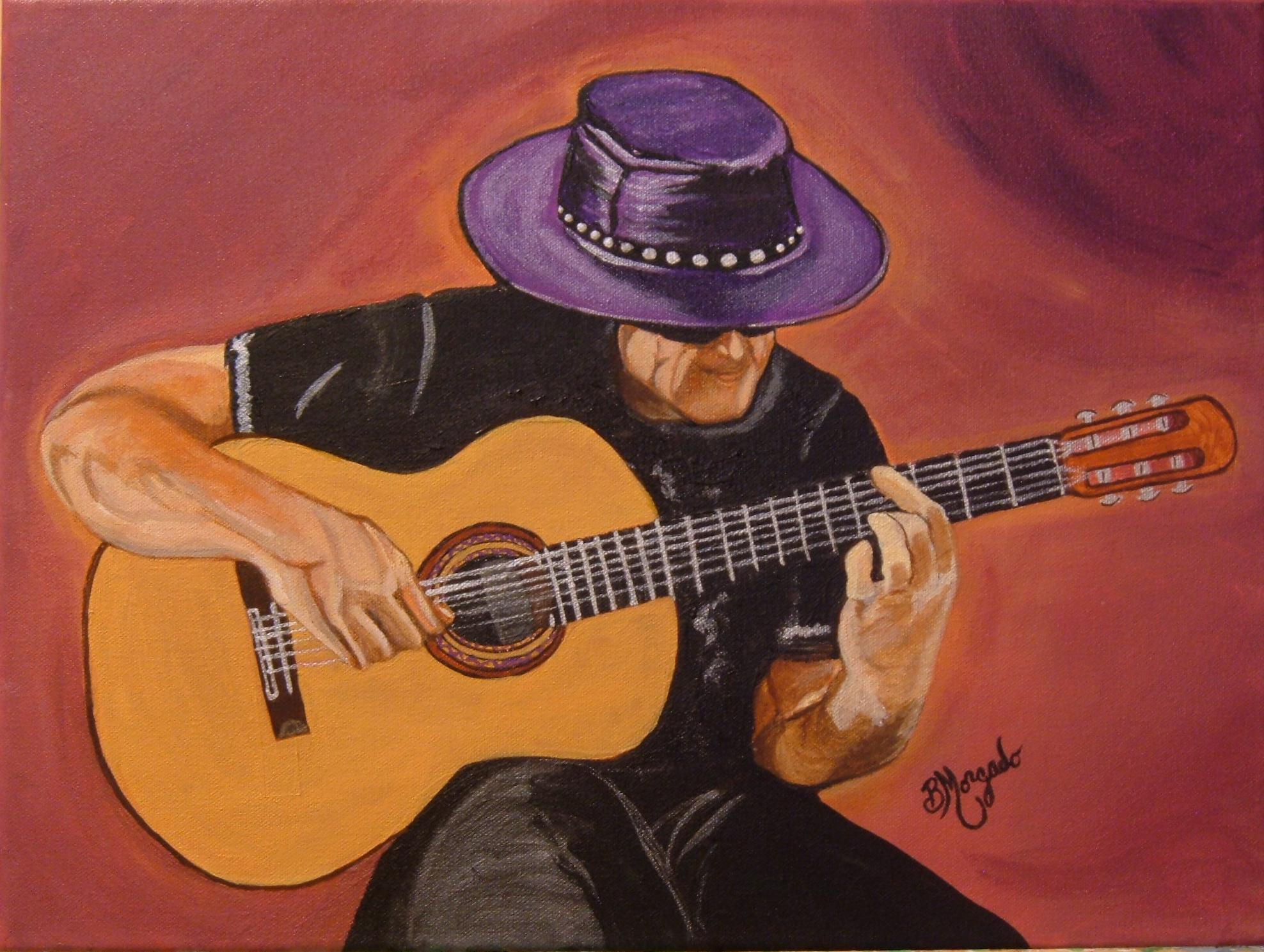 Guitarist Painting Flamenco Guitar | Bren...