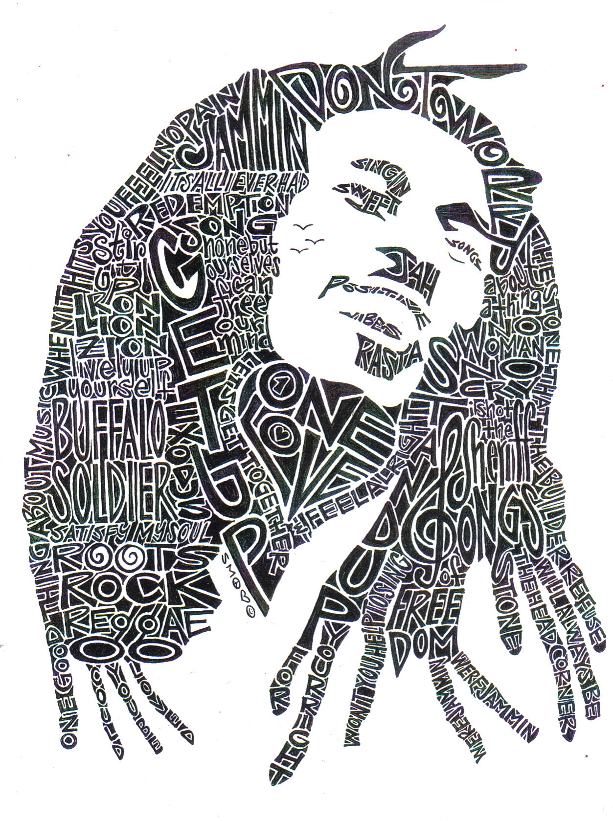 Line Art Word : Bob marley black and white word portrait smock foundmyself