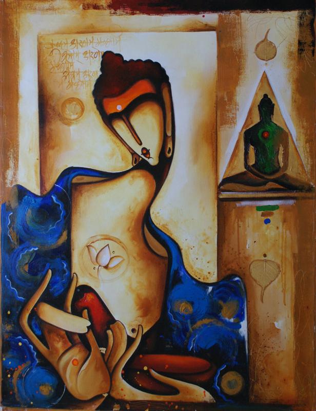 Gautam buddha painting nisstiiv foundmyself for Buddha mural paintings
