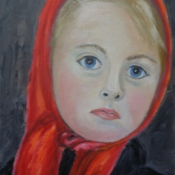 Blonde child with a red scarf