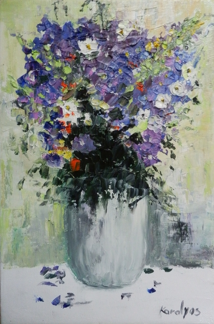 Purple flowers in a vase