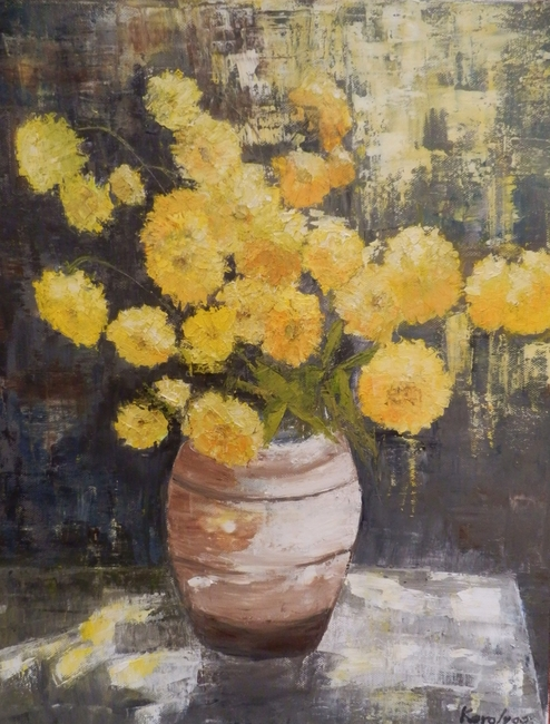 YELLOW FLOWERS IN TERACOTTA POT
