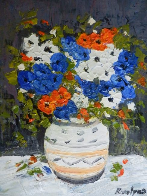 Blue flowers in a pot