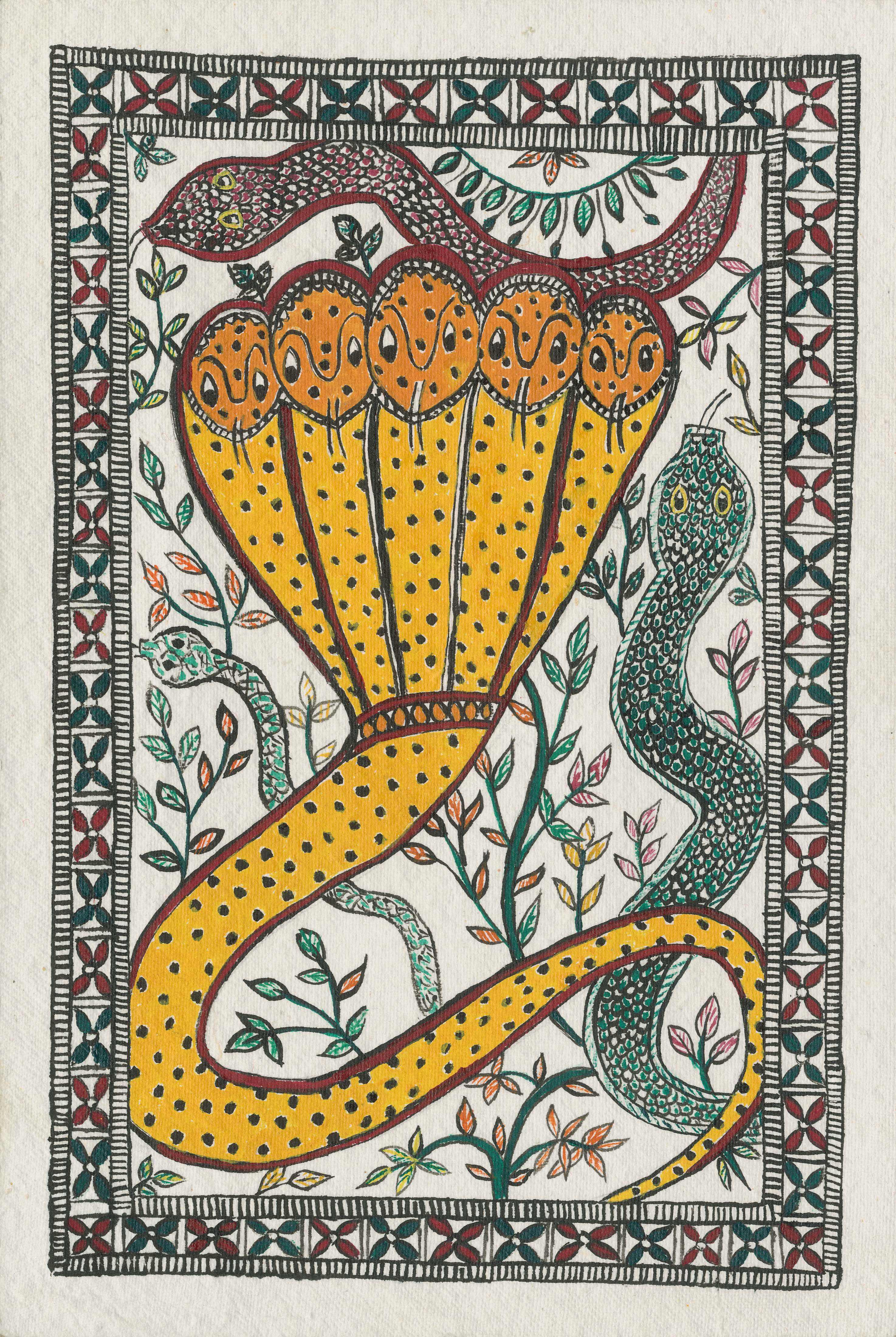 Madhubani Five Headed Snake | artbytarana | Foundmyself - photo#16