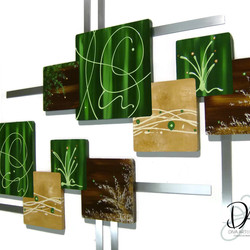 Hunter green squares -Set of 2-Wooden wall hangings w/Metal