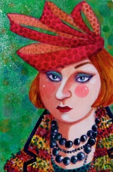 Woman in a hat - painting