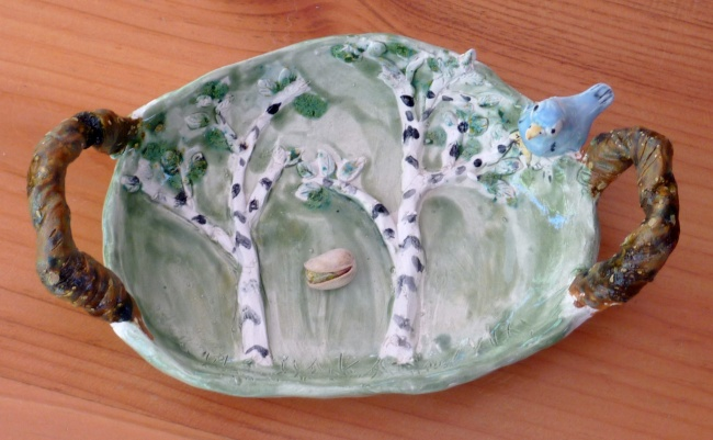 Birch Tree Blue bird plate serving
