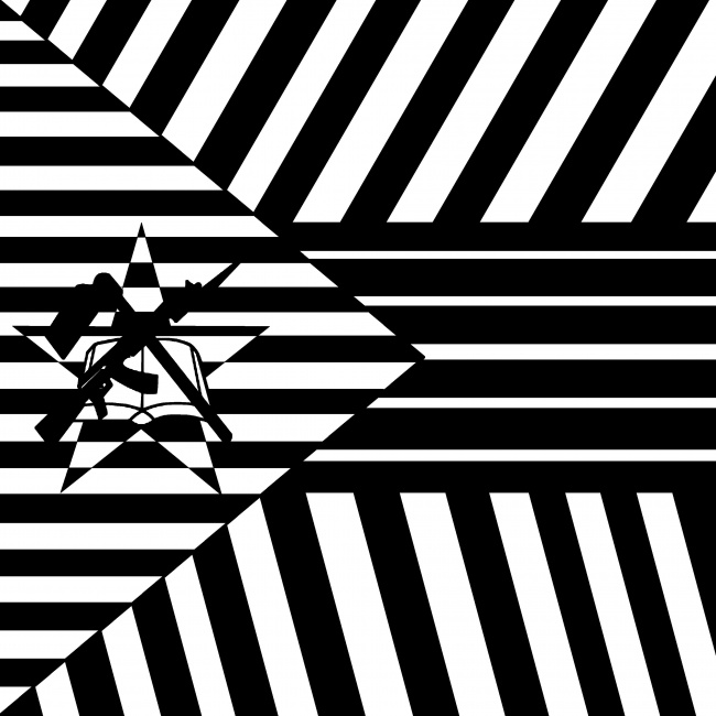 High-Contrast black and white casino art of Mozambique flag