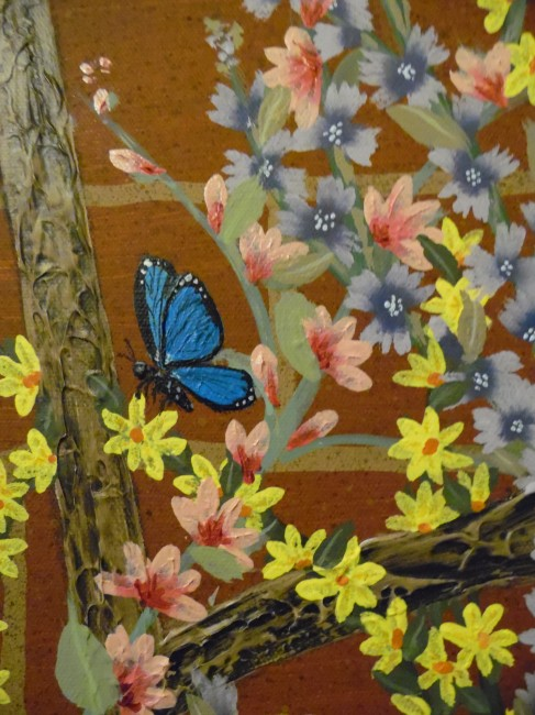 Blue Butterfly & Two Ladybugs On A Trellis (Detail of Butter