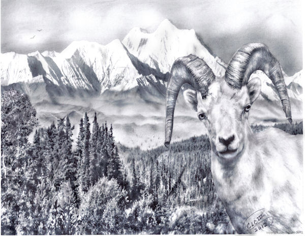 Goat and Mountains