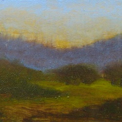 Original tonalist oil painting on wood panel.
