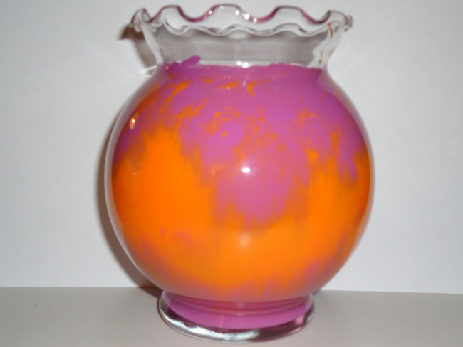 Plum and Orange Glass Vase