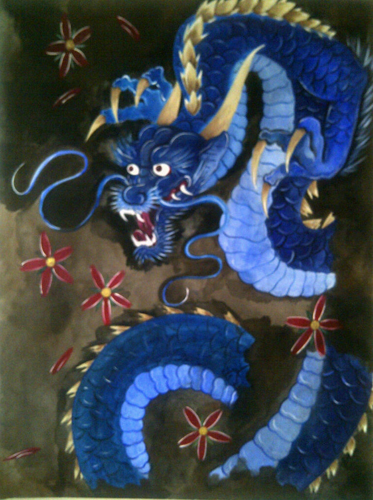Japanese dragon painting liam ryan foundmyself for Japanese dragon painting