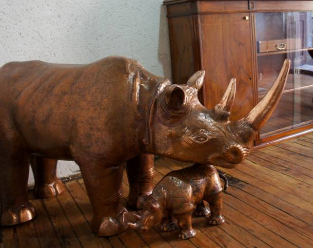 Two Cooper Rhinos Handcrafted (Mother and son)