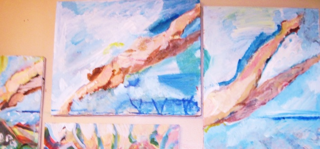 What I Saw Underwater (Close Up Two Canvases)