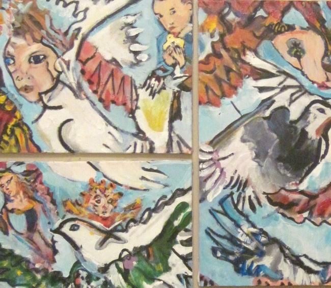 close-up Birds and Man
