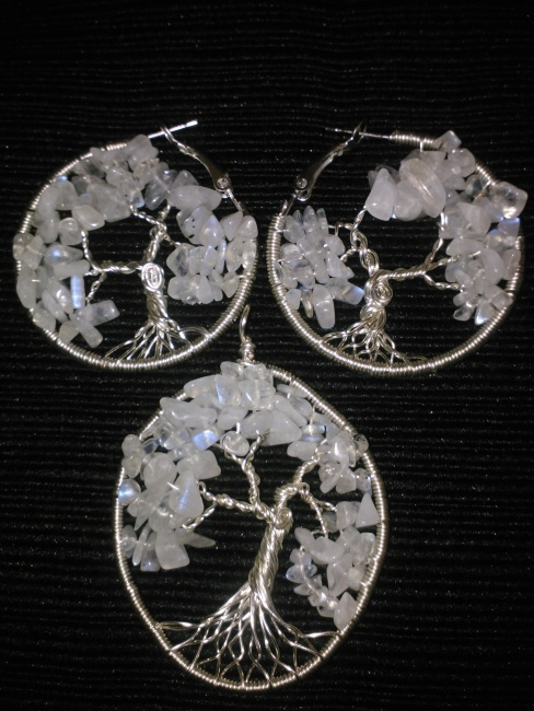 """La Luna"" Tree of Life Earring & Pendant Set"