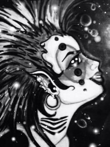 Shark woman. In Black and White.
