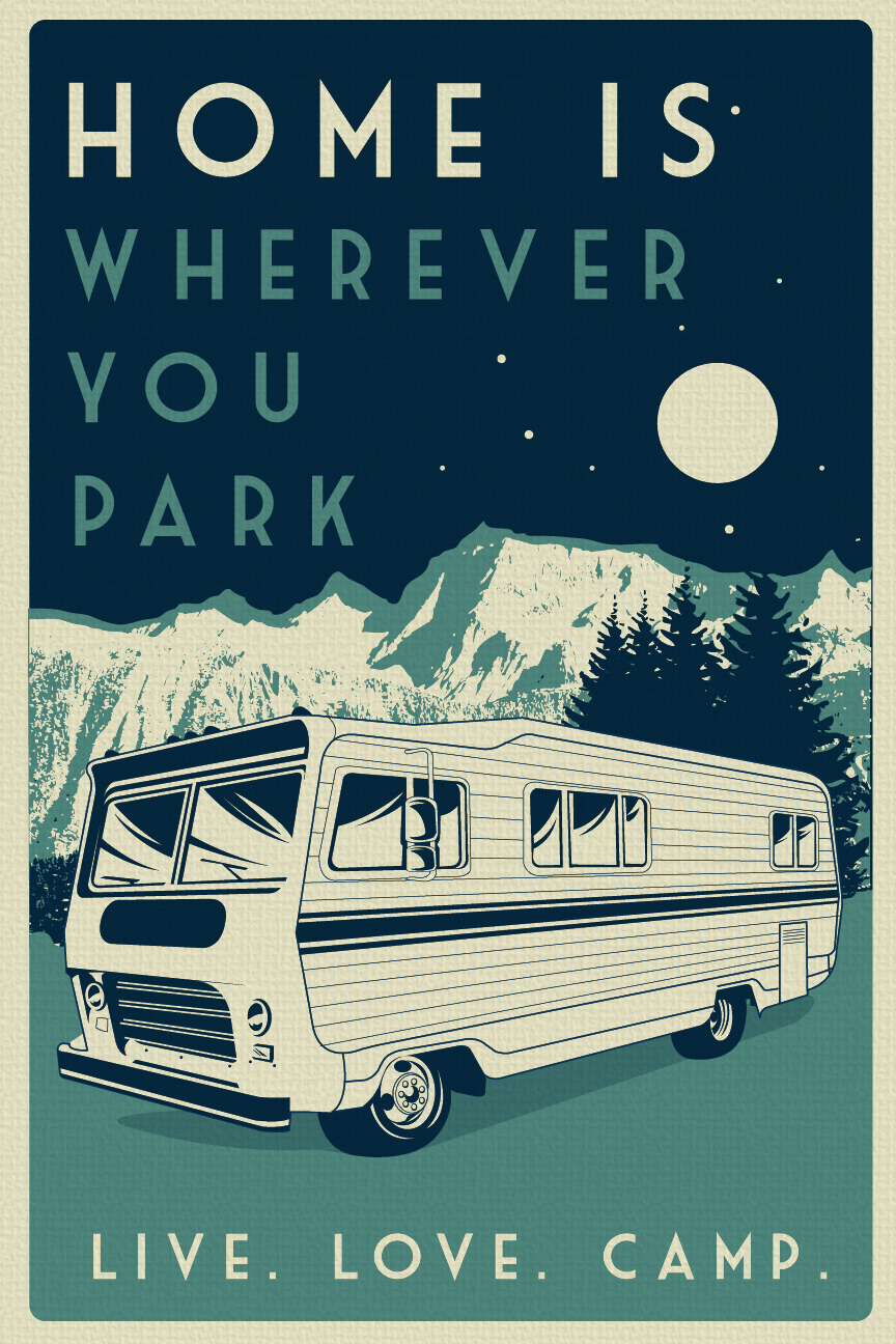Vintage Retro Camping Silk Screen Print Poster Live Love