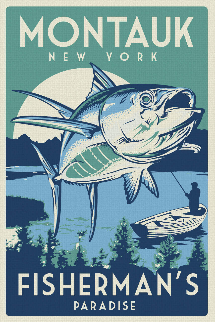 Vintage Retro Fishing Montauk New York Silk Screen Print