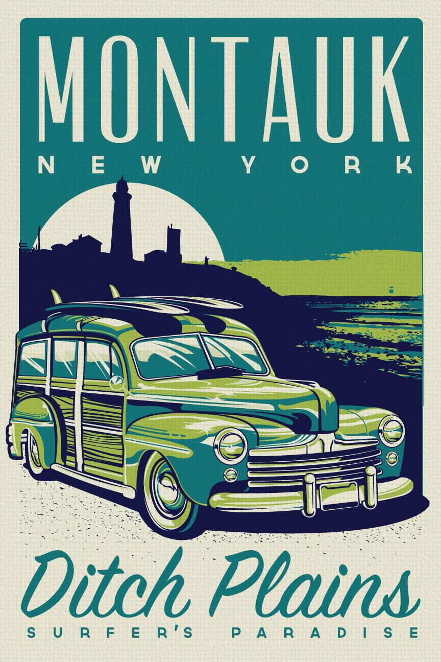 Vintage Retro Fishing Montauk New York Silk Screen Print Pos Perfectpeople Foundmyself