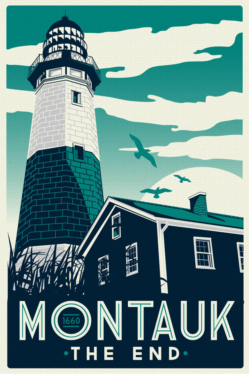 Montauk Light House Retro Vintage Beach Screen Print