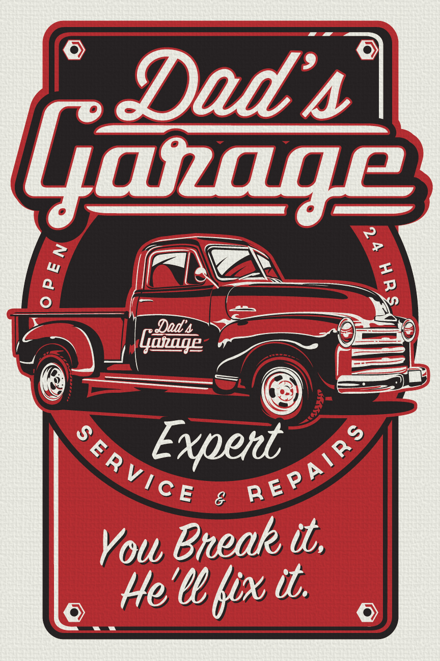Dad 39 s garage pickup truck workshop vintage retro for Garage prints