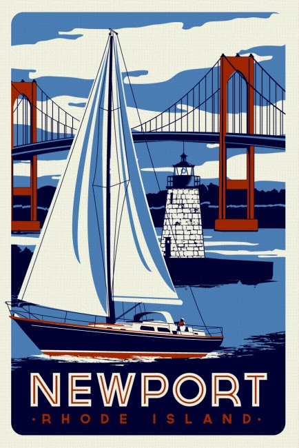 Newport Rhode Island Sailboat Lighthouse Retro Vintage