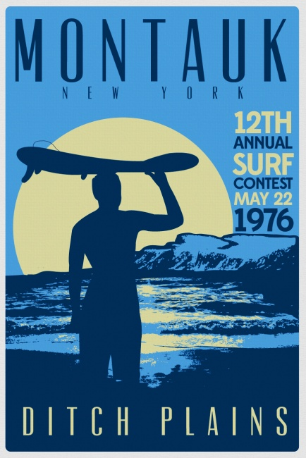 vintage retro surf poster ditch plains surf contest montauk