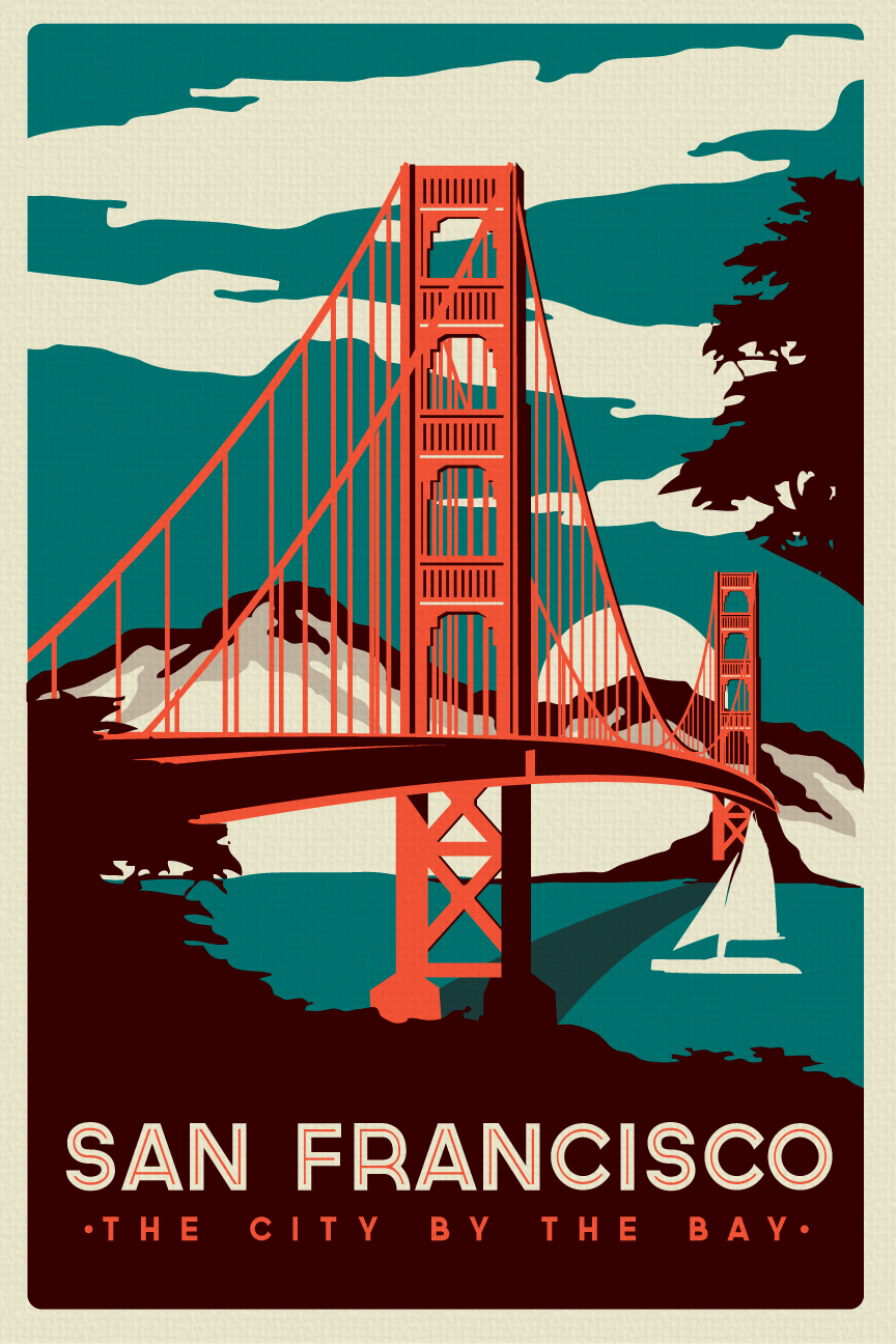 An francisco golden gate bridge retro vintage poster silk for Posters art prints