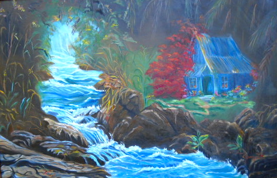 Hut by Rushing Waters