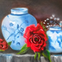 Blue and White Pottery and Roses