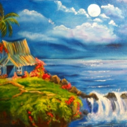 Hawaiian Hut and Waterfalls