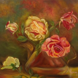Roses in a Copper Kettle