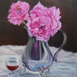 Magenta Rose and Silver Pitcher