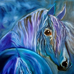 Cobalt Fury - Horse painting
