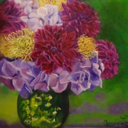 Hydrangeas and Dahlias
