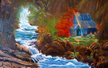 Hawaiian Hut by Rushing Waters