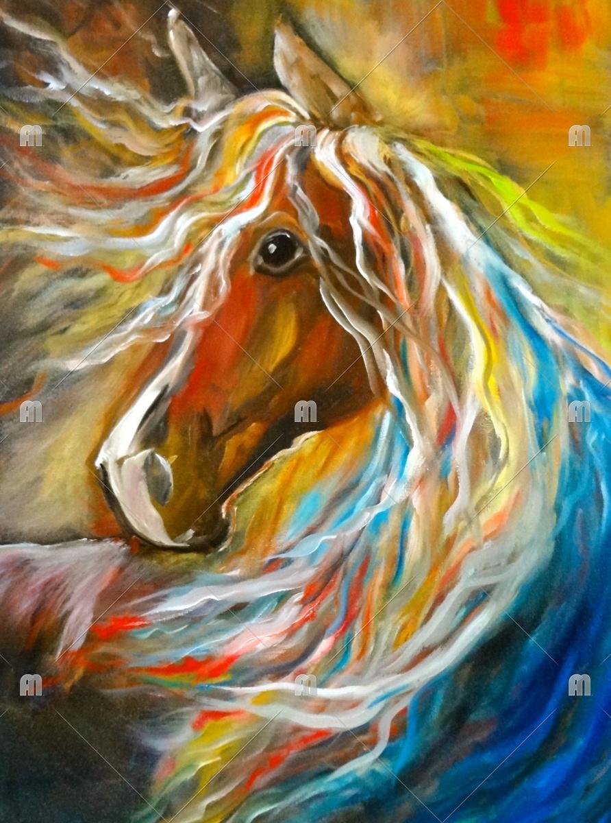 Abstract Horse Painting Thunderbolt 11 Horse Palomino Pony Art Print Jennylee Foundmyself