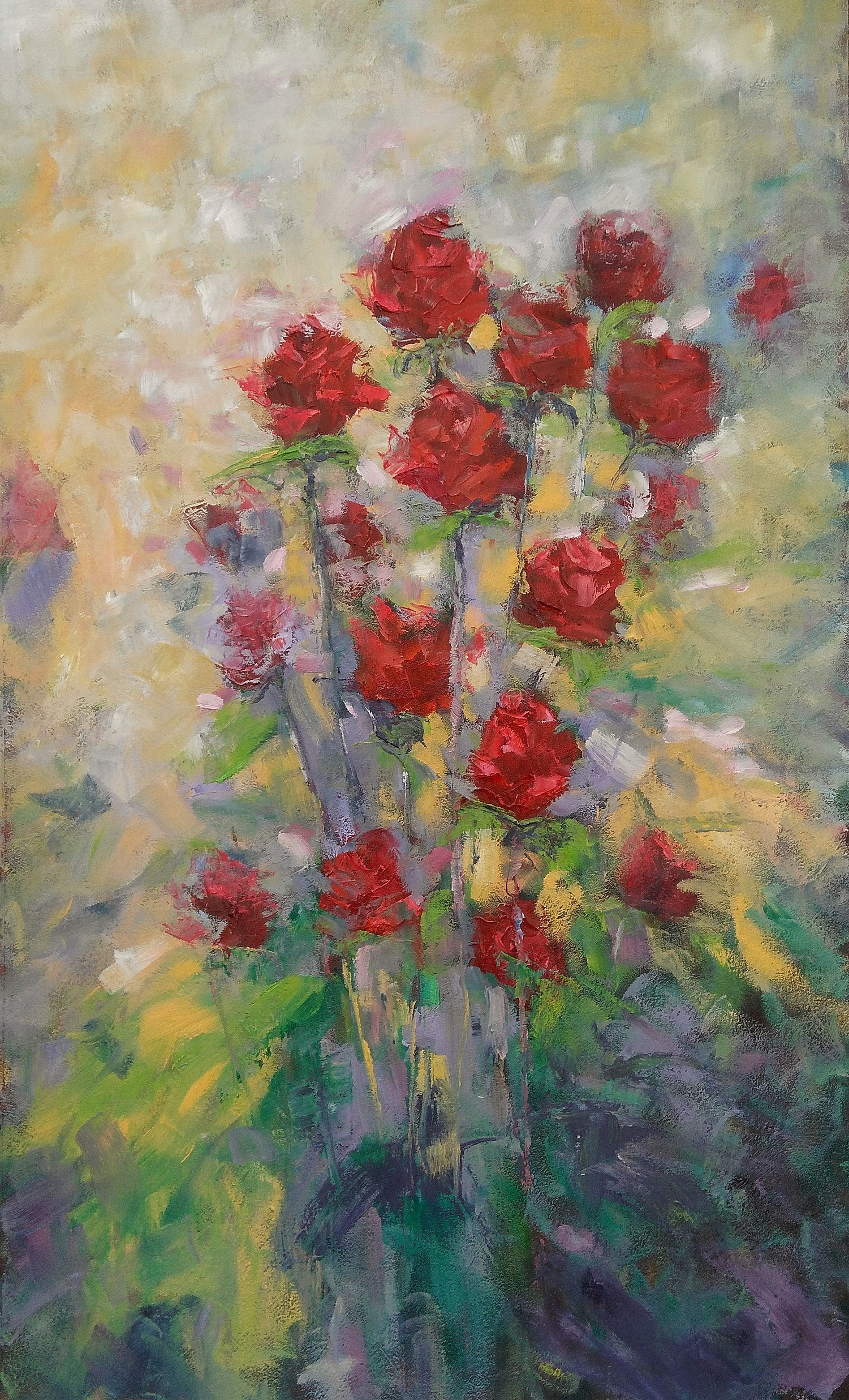Made In Love Original Oil Painting Of Red Roses Bouquet Emaart