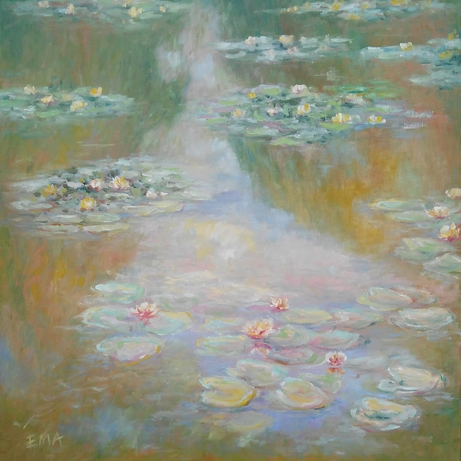 Replica of Monet s water lilies