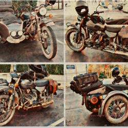 Motorcycle  with side car vintage
